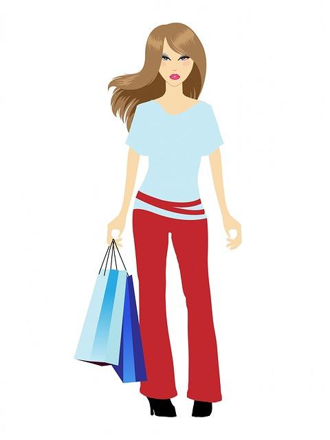 買い物している女性のシルエット